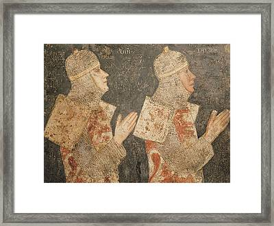 Two Crusaders Of The Minutolo Family, From The Cappella Minutolo Fresco Framed Print
