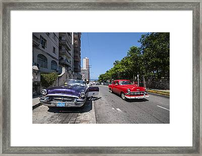Two Cuban Taxis Framed Print by Steven Chadwick