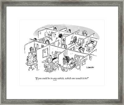 Two Cubicle Employees Talk Framed Print