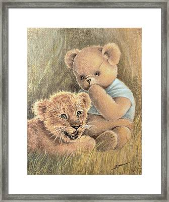 Framed Print featuring the drawing Two Cubs by Ethel Quelland