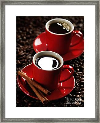 Two Cups Of Coffe On Coffee Beans Framed Print