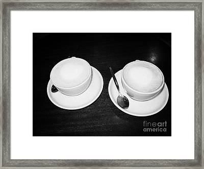Two Cups Of Mocha Coffee On A Table In A Coffee Shop In The Uk United Kingdom Framed Print