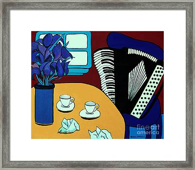 Two Cups One Accordian Framed Print by Barbara McMahon