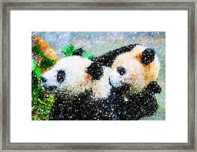 Framed Print featuring the digital art Two Cute Panda by Lanjee Chee