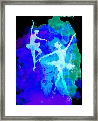 Two Dancing Ballerinas  Framed Print by Naxart Studio