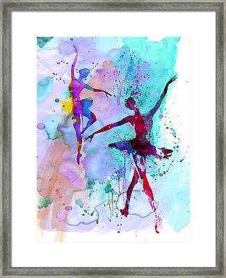 Two Dancing Ballerinas Watercolor 2 Framed Print by Naxart Studio