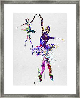 Two Dancing Ballerinas Watercolor 4 Framed Print by Naxart Studio