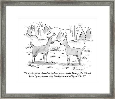 Two Deer In A Forest Are Seen In Conversation Framed Print
