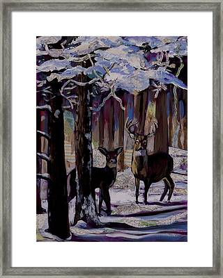 Framed Print featuring the painting Two Deer In Snow In Woods by Tilly Strauss