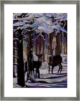 Two Deer In Snow In Woods Framed Print