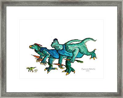 Two Dinos On The Run  Framed Print