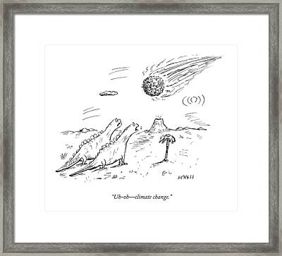 Two Dinosaurs Look At A Fast-approaching Meteor Framed Print