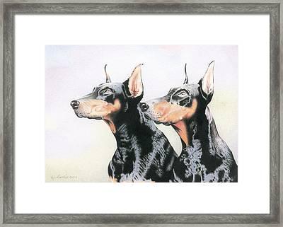 Two Doberman Framed Print by Wilfrid Barbier