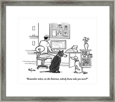 Two Dogs Speak As Their Owner Uses The Computer - Framed Print