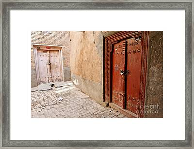 Two Doors In The Old Town Of Kashgar Framed Print