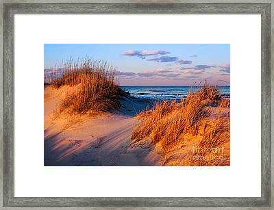 Two Dunes At Sunset - Outer Banks Framed Print by Dan Carmichael