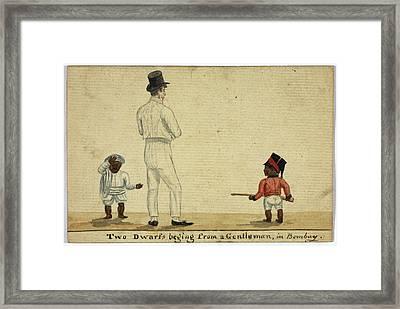 Two Dwarfs Begging In Bombay Framed Print