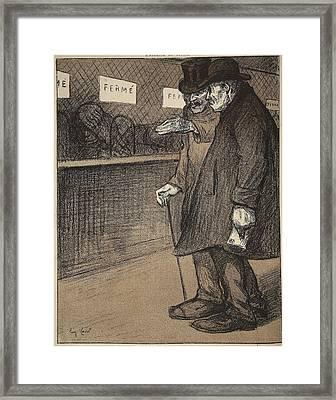 Two Elderly Gentlemen Walking Framed Print by Eugene Cadel