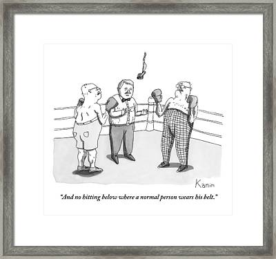 Two Elderly Men Meet In A Boxing Ring Framed Print by Zachary Kanin