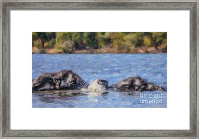 Two Elephants Playing In Chobe River Framed Print
