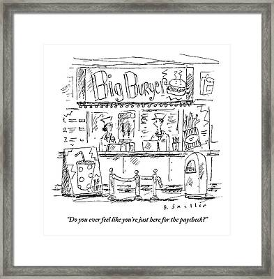 Two Employees Converse Within A Hamburger Stand Framed Print by Barbara Smaller