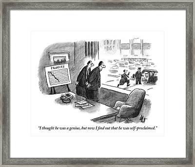 Two Executives Look Out The Window As Another Framed Print
