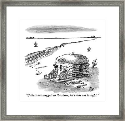 Two Farmers Sit Outside Their Hut Staring Framed Print