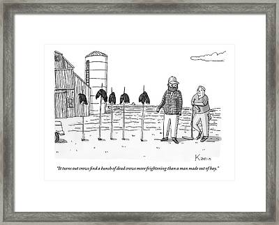 Two Farmers Stand Next Two Five Dead Crows Framed Print by Zachary Kanin