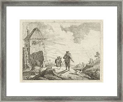 Two Farmers With A Dog On A Country Road Framed Print by Artokoloro