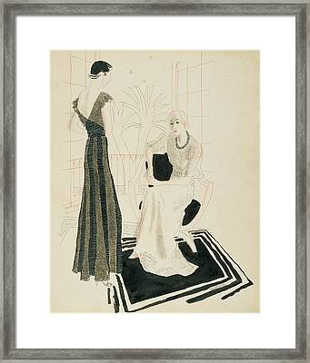 Two Fashionable Women Framed Print