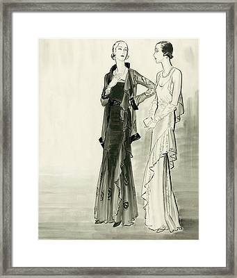 Two Fashionable Young Women Wearing Evening Framed Print by Ren? Bou?t-Willaumez