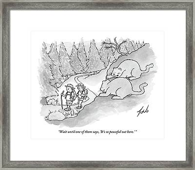 Two Fat Mountain Lions Plan The Perfect Attack Framed Print by Tom Toro