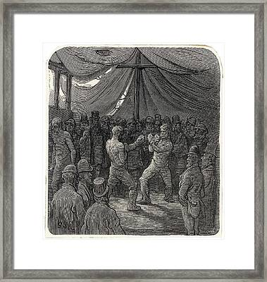 Two Fighters Slug It Out In  The Gloomy Framed Print