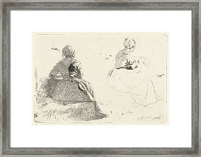 Two Figure Studies Of Peasant Woman Sitting On Hay Bale Framed Print by Artokoloro
