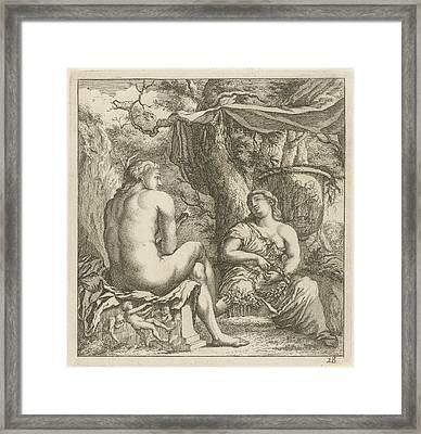 Two Figures In A Classical Landscape, Arnold Houbraken Framed Print