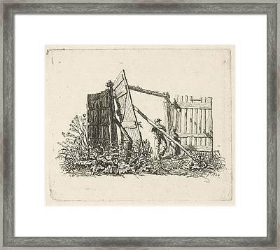 Two Figures In A Gate Open, Print Maker Johannes Mock Framed Print by Johannes Mock