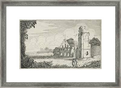 Two Figures In A Ruined House, Jan Van De Velde II Framed Print by Jan Van De Velde (ii)