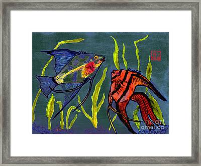 Two Fish  Chinese Watercolor Painting Framed Print by Merton Allen