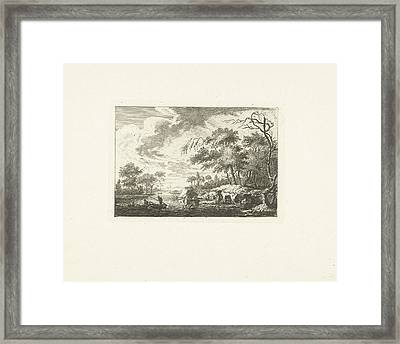 Two Fishing Boats On A River, Attributed To Joannes Bemme Framed Print