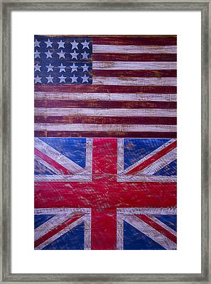 Two Flags American And British Framed Print by Garry Gay