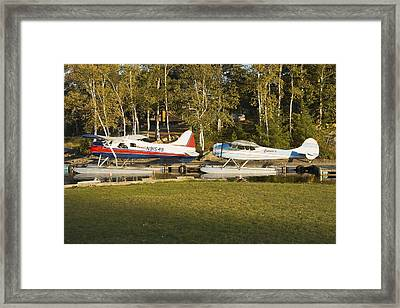 Two Float Planes On Moosehead Lake Near Greenville Maine  Framed Print