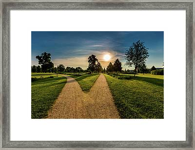 Two Footpaths In Park Framed Print