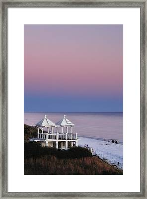 Two For Joy - Twin Gazebos At Twilight Framed Print