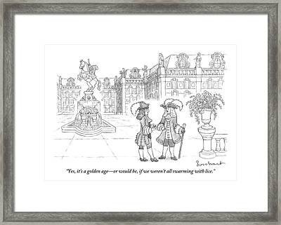Two French-royalty Men With Canes Framed Print