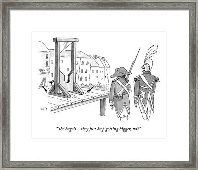 Two French Soldiers Look At A Guillotine Framed Print by Julia Suits