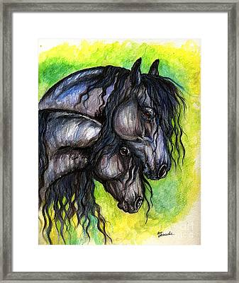 Two Fresian Horses Framed Print by Angel  Tarantella