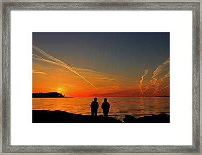 Two Friends Enjoying A Sunset Framed Print