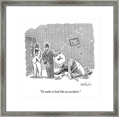 Two Gangsters Drop A Banana Peel In A Room That Framed Print by Liam Walsh