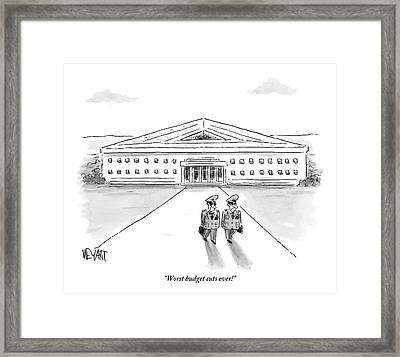 Two Generals Walking Away From The Pentagon Framed Print
