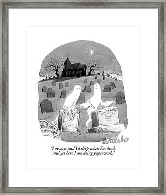Two Ghosts Talk In A Graveyard.  One Is Holding Framed Print by Liam Walsh